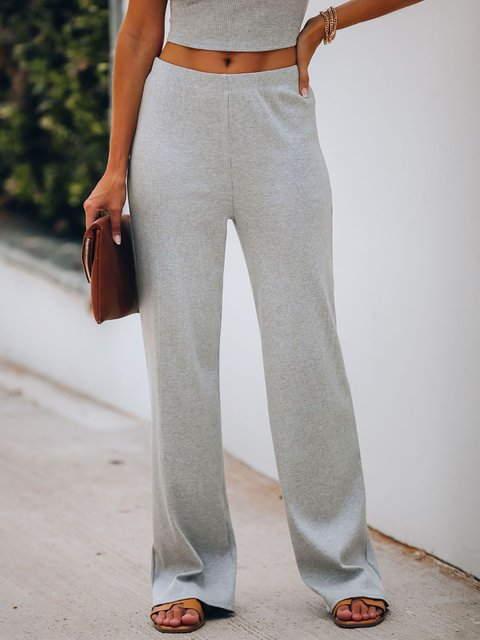Loose Solid Color Ribbed Knit Pants