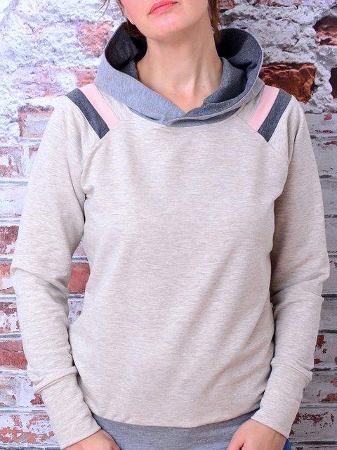 Grey Pink Raglan Sleeves Casual Hoodies