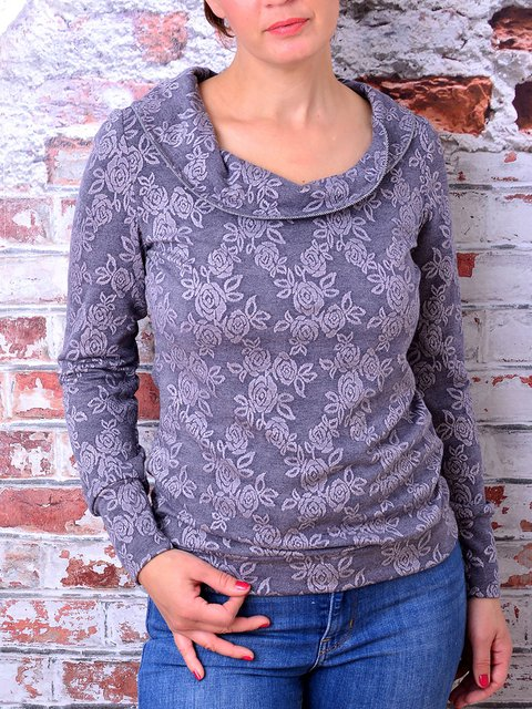 Blue Floral Print Round Neck Long Sleeve Pullover Tops