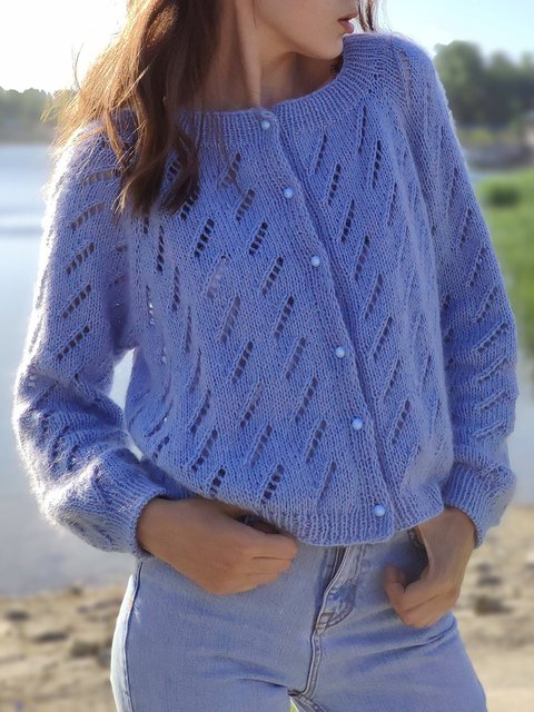 Knitted Solid Color Loose Button Up Sweater