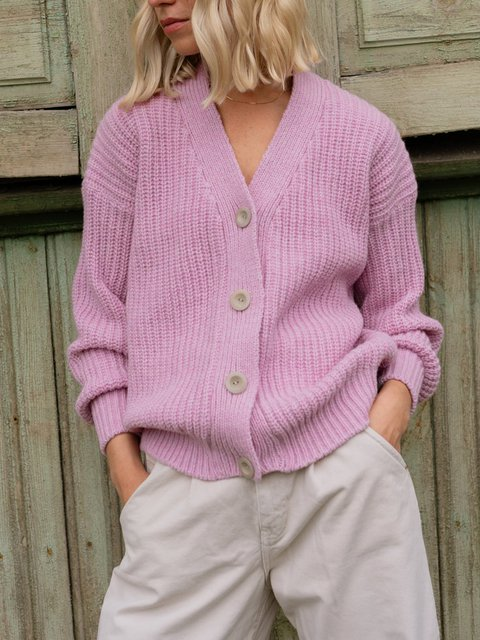 V-neck Buttoned Solid Color Casual Knitted Sweater