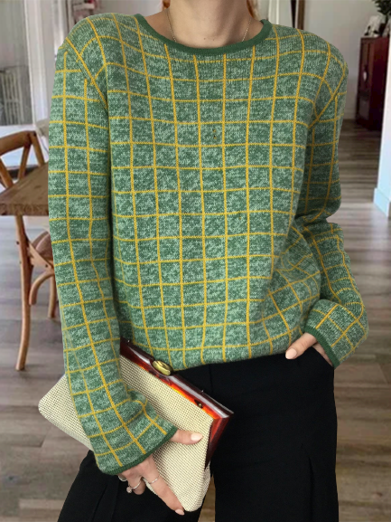 Vintage Round Neck Long Sleeve Woolen Sweater