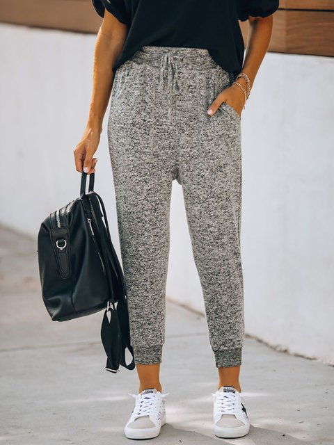 Solid Casual Sports Tights Pocket Joggers
