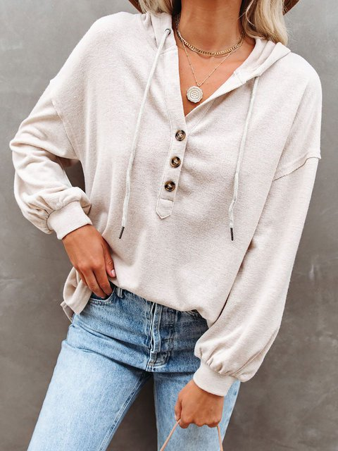 Casual Solid Button Hooded Henley Tops
