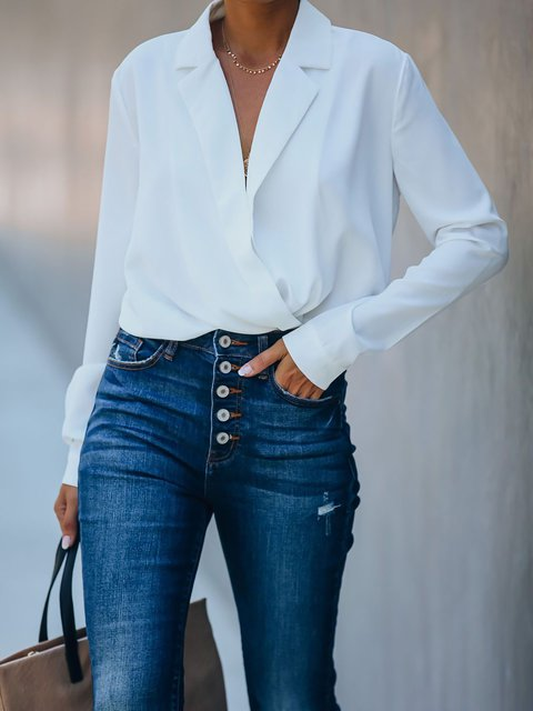 White Cotton-Blend Casual Long Sleeve Shirts & Tops