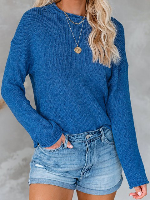 Solid Color Round Neck Long Sleeve Knit Sweater