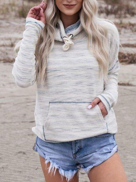 Big Pocket Solid Color Long Sleeve Hoodies Tops