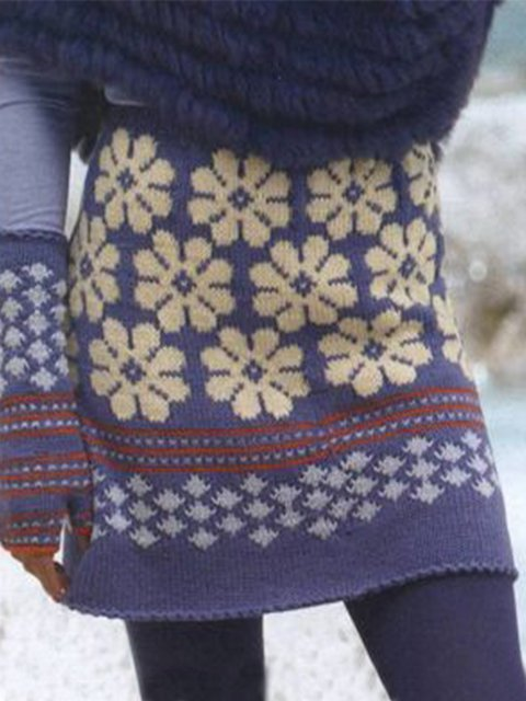 Purple Vintage Knitted Sheath Floral Skirts