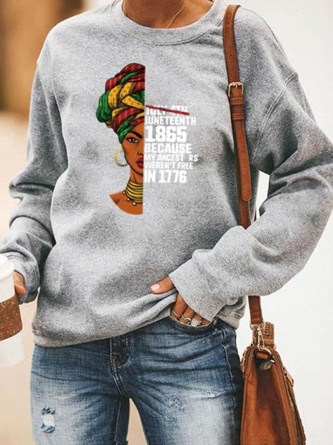 Printed Long Sleeve Crew Neck Tops