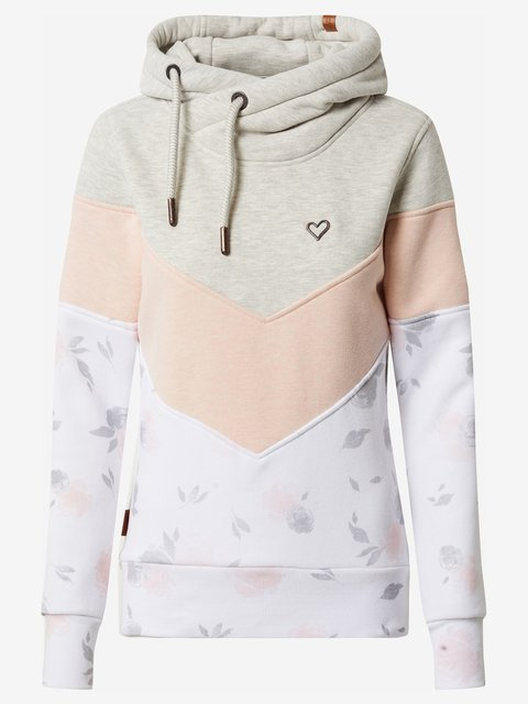 Beige Floral Turtleneck Long Sleeve Color-Block Sweatshirt