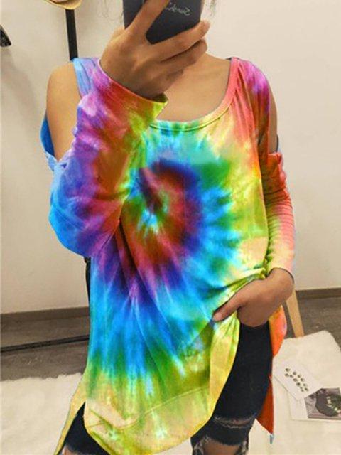 V-Neck Tie-Dye Printed Long Sleeve Blouse