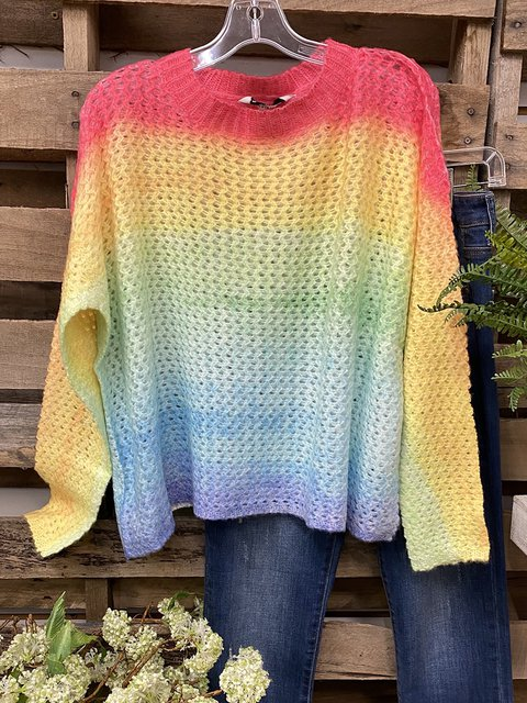 Multicolor Acrylic Casual Sweater