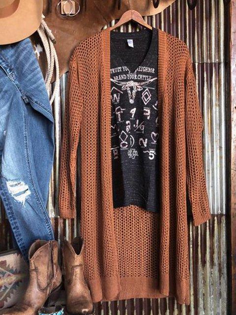 Brown Acrylic Plain Long Sleeve Sweater