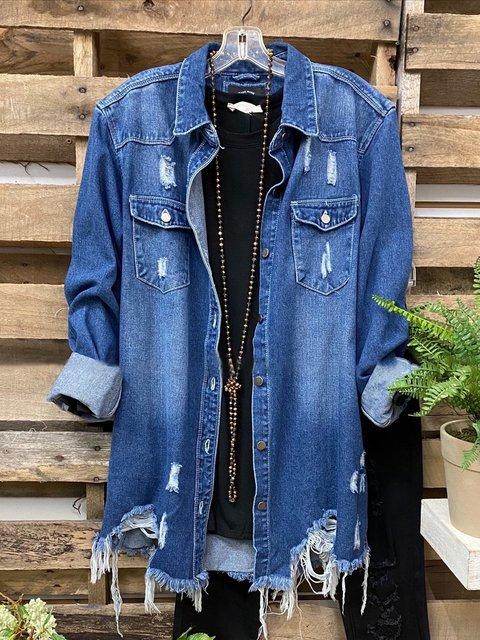Deep Blue Denim Casual Plain Shirt Collar Outerwear