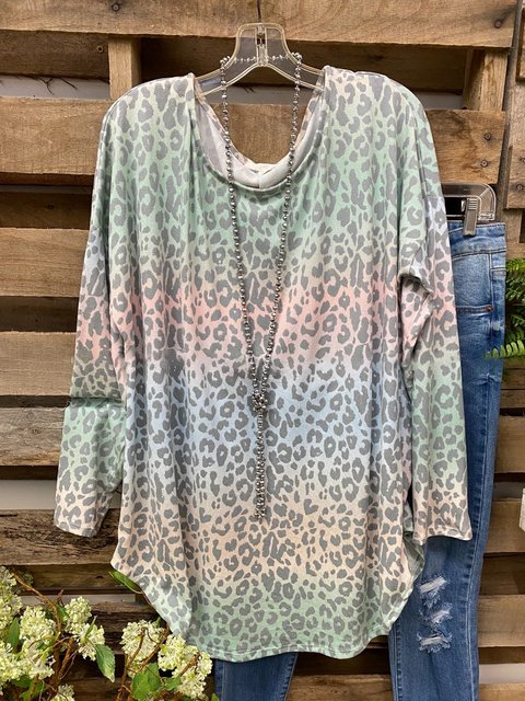 Multicolor Long Sleeve Cotton-Blend Shirts & Tops