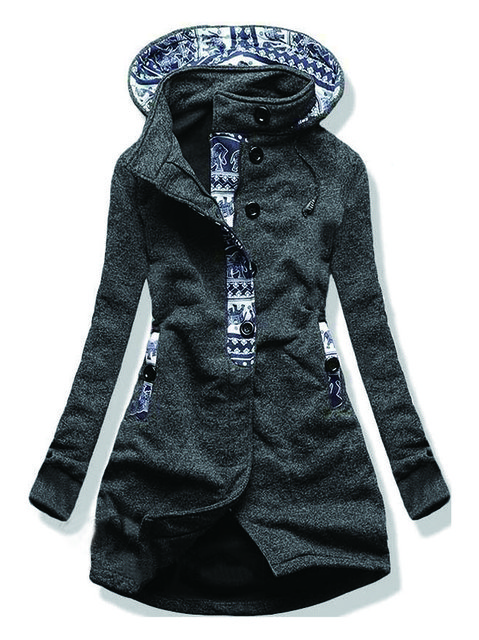 Gray Casual Tribal Outerwear