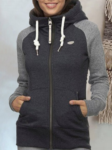 Gray Hoodie Casual Long Sleeve Outerwear