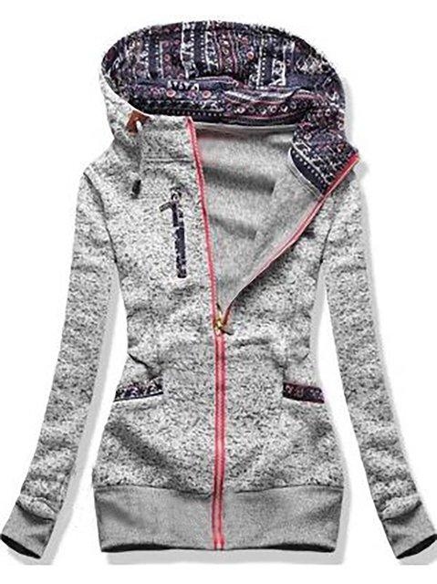 Cotton-Blend Long Sleeve Hoodie Outerwear