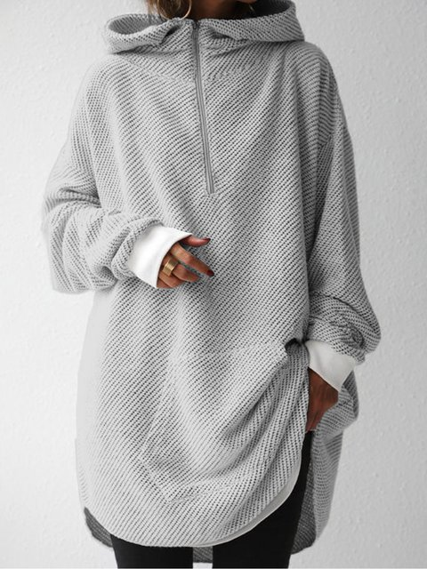 Hoodie Casual Shift Plain Sweatshirt