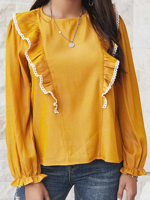 Yellow Cotton-Blend Long Sleeve Paneled Shirts & Tops