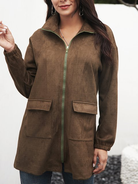 Green Stand Collar Plain Vintage Long Sleeve Outerwear