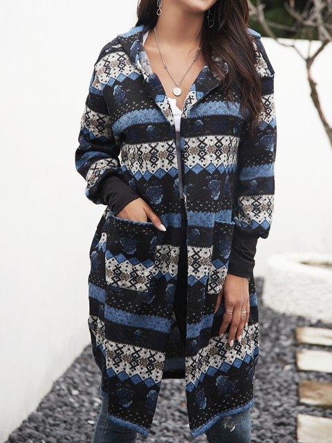 Blue Tribal Hoodie Long Sleeve Paneled Outerwear