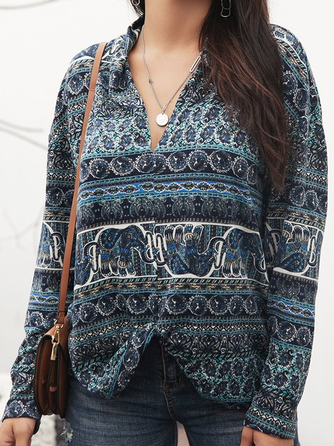Blue Cotton-Blend Long Sleeve Tribal Shirts & Tops