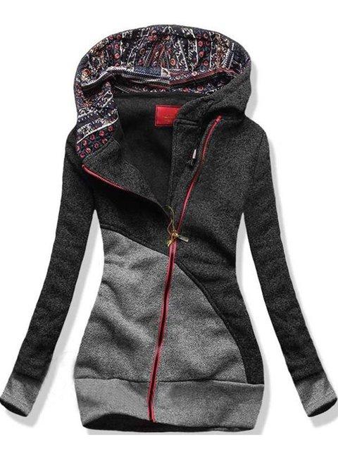 Gray Casual Paneled Solid Hoodie Sweatshirt