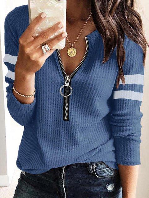 Royal Blue Casual Shift Long Sleeve Sweater