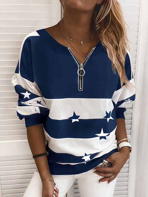Navy Blue Casual Long Sleeve Striped Sweatshirt