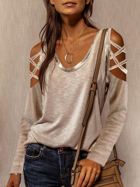 Khaki Casual Cutout Shirts & Tops