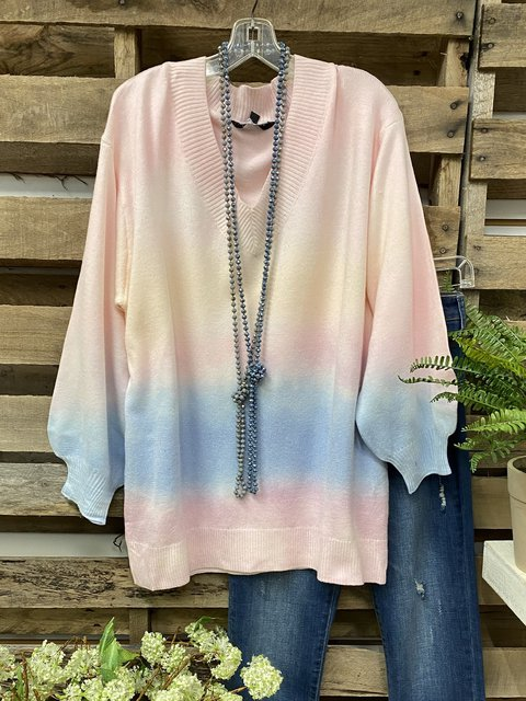 Multicolor Shift Long Sleeve Ombre/tie-Dye Cotton-Blend Sweater