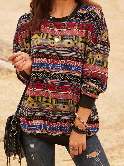 Red Crew Neck Long Sleeve Tribal Cotton-Blend Shirts & Tops