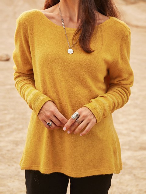 Yellow Casual Plain Long Sleeve Cotton-Blend Shirts & Tops