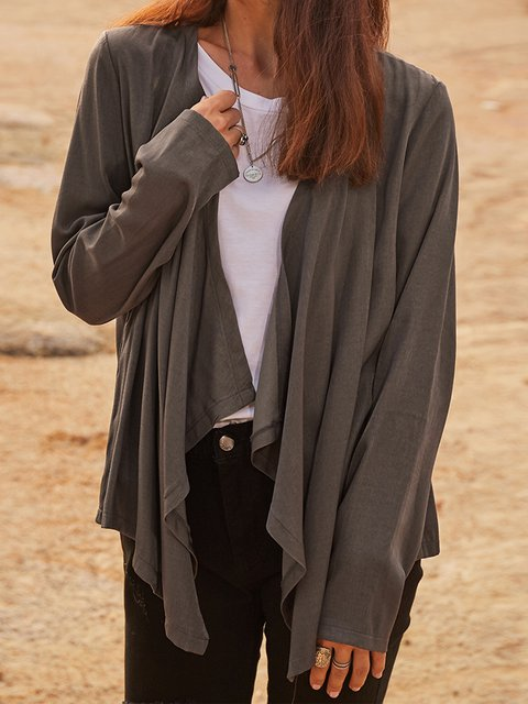 Gray Long Sleeve Cotton-Blend V Neck Outerwear