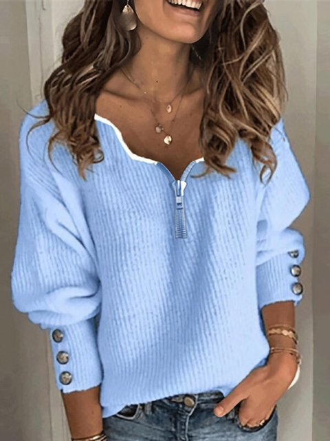 Blue Buttoned Solid Casual V Neck Sweater