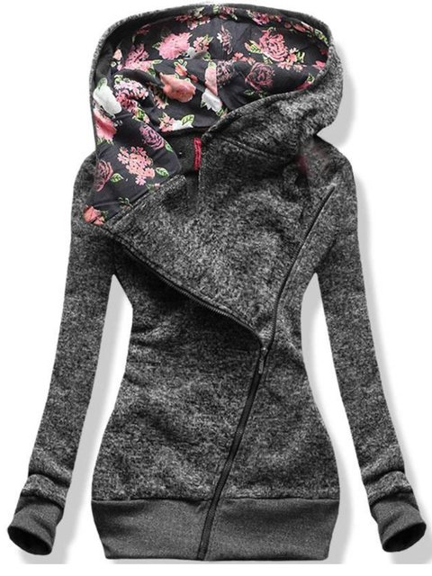 Gray Floral Casual Floral-Print Hoodie Sweatshirt