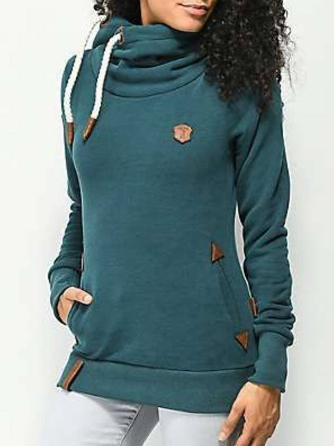 Green Solid Long Sleeve Hoodie Sweatshirt