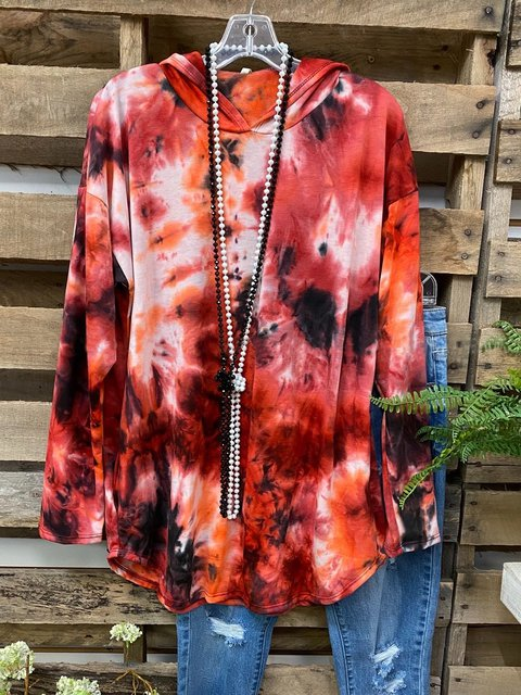 Multicolor Shift Long Sleeve Ombre/tie-Dye Hoodie Shirts & Tops