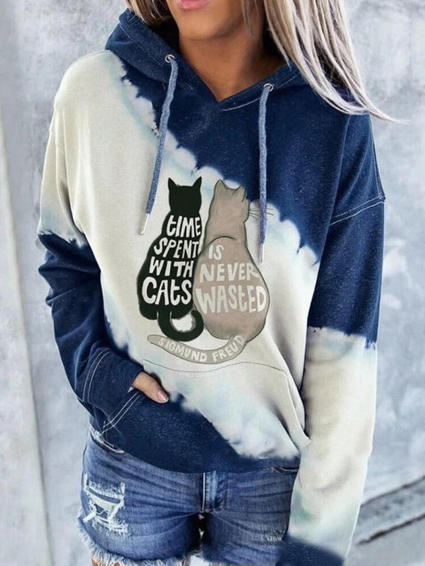 Plus Size Animal Hoodie Long Sleeve Shirts & Tops