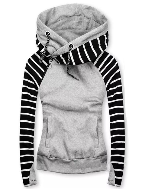 Black-Grey Hoodie Shift Casual tops