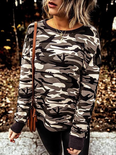 Camo Printed Long Sleeve Round Neck Sweatshirt