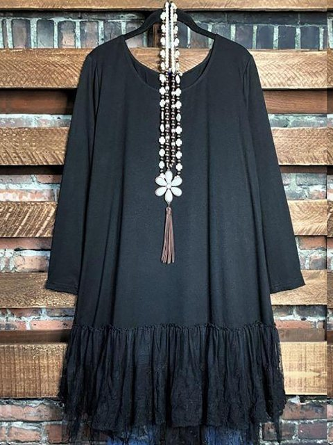 Round Neck Cotton-Blend Casual Solid Long Top Tunic Dress