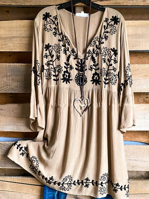 Casual Embroidery Print Long Sleeve V-Neck Shirts & Tops