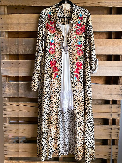 Leopard Print Long Sleeve Shirt Collar Long Coat
