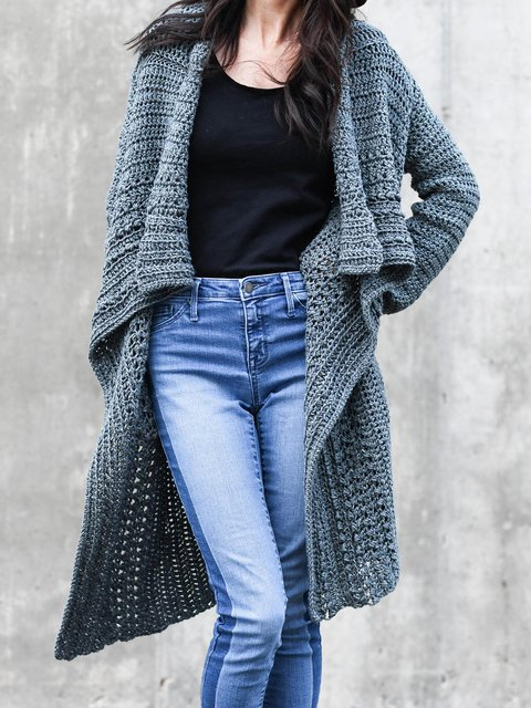 Loose Casual Solid Color Long Cardigan