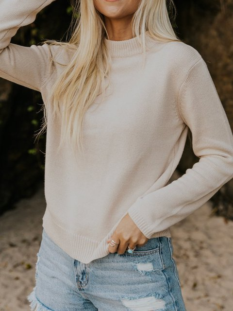 Apricot Cotton-Blend Long Sleeve Sweater