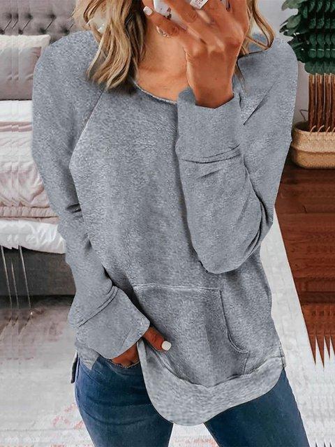 Cotton-Blend Round Neck Long Sleeve Pocket Sweatshirt