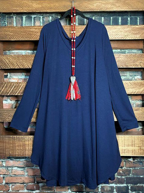 Cotton-Blend V Neck Long Sleeves Soft Dress or Long Tunic