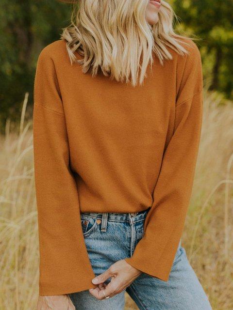 Yellow Long Sleeve Cotton-Blend Shift Shirts & Tops